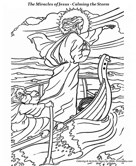 printable coloring pages of jesus miracles calming the storm coloring pages miracles of jesus