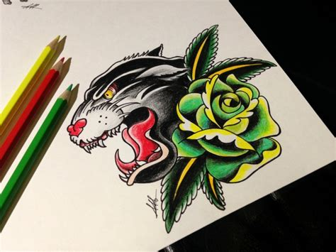 green rose tattoo colorful school panther and green flower