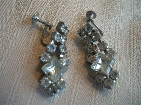ebay vintage vintage rhinestone dangling earrings screw backs antique