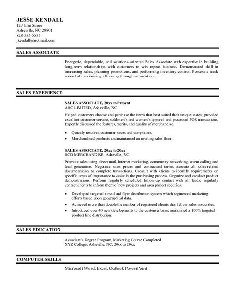 Resume Exles For Sales Associates by Sales Associate Resume Sles Free Resume Sles