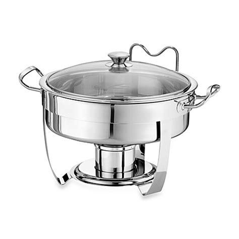 chafing dish bed bath and beyond tramontina 174 5 quart round stainless steel chafing dish with glass lid