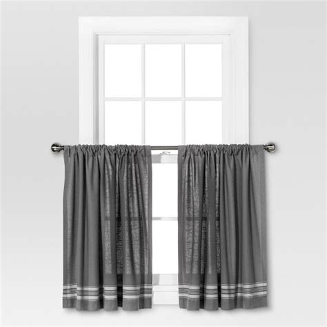 gray and cream curtains curtain tiers gray cream stripe threshold target
