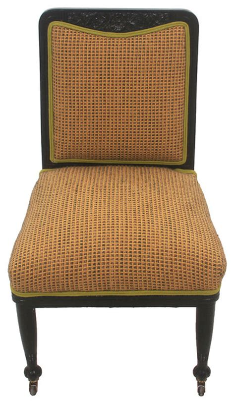 upholstered puritan chair on casters traditional