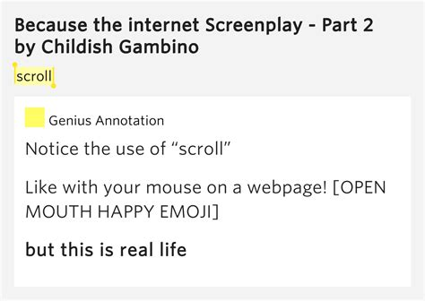 because the screenplay scroll because the screenplay part 2 meaning