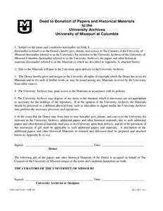 deed of donation form university of missouri free download