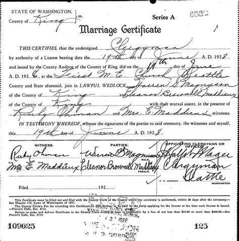 Washington Marriage Records Didyaknow From Our Corner