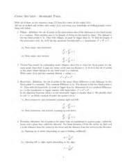 Summary Of Conic Sections by Conic Sec Summary Sheet Conic Section Summary Page With