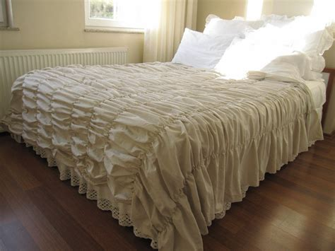 waterfall comforter ruched bedding bedspread waterfall ruffle oatmeal cotton