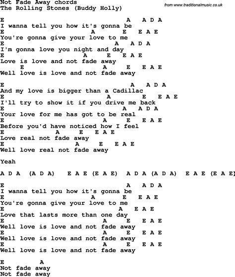 stones lyrics song lyrics with guitar chords for not fade away the
