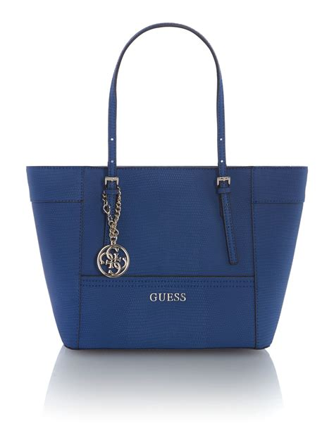 Guess Blue guess black tote bag in blue lyst