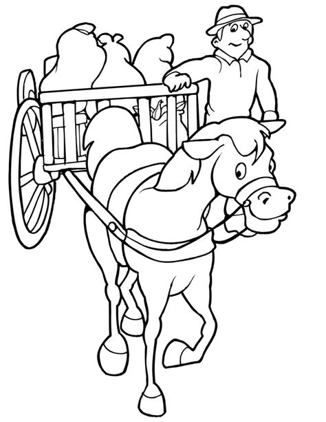 free coloring pages of carriage and horses