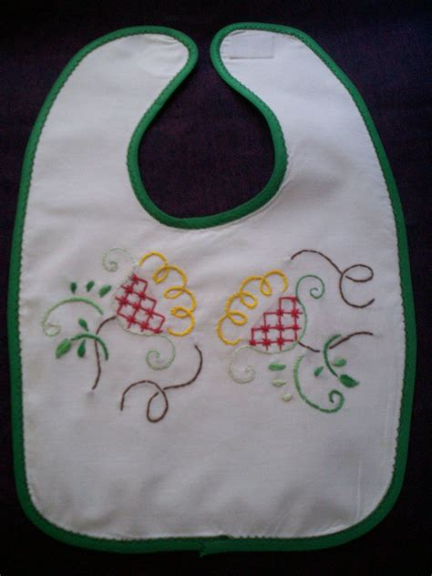 Baby Bibs Handmade - handmade baby bib embroidered yellow flowers
