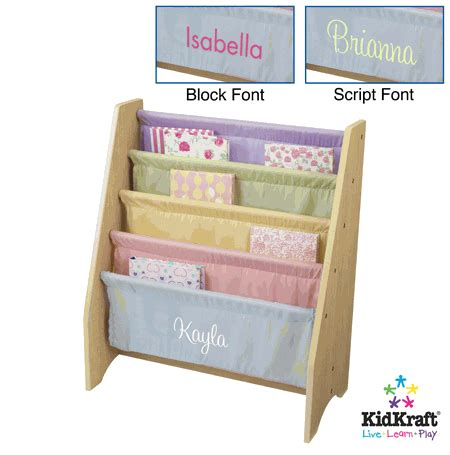 kidkraft personalized sling bookshelf pastel