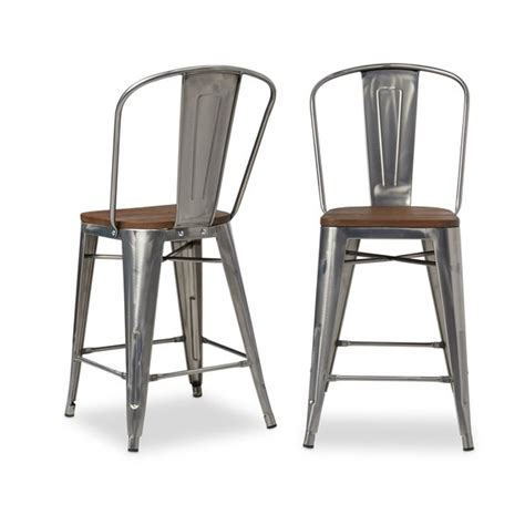 Tabouret Bistro Wood Seat Gunmetal Finish Bar Stools by Shop Tabouret Bistro Wood Seat Gunmetal Finish Counter