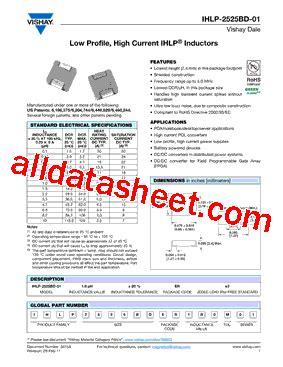 vishay inductors datasheet ihlp2525bder3r3m01 datasheet pdf vishay siliconix