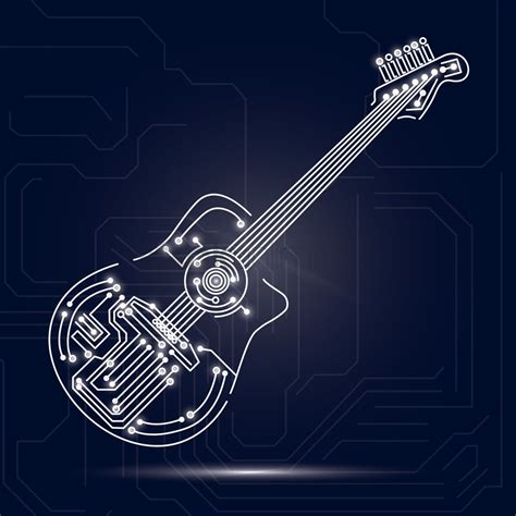 design background board guitar design on circuit board background vector image