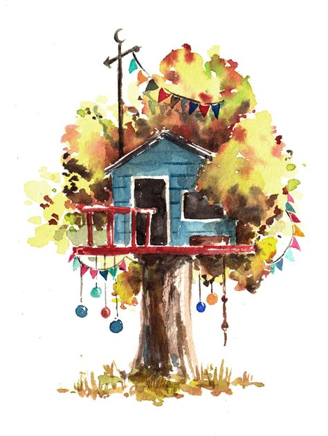 i use watercolours to paint whimsical tree houses bored panda