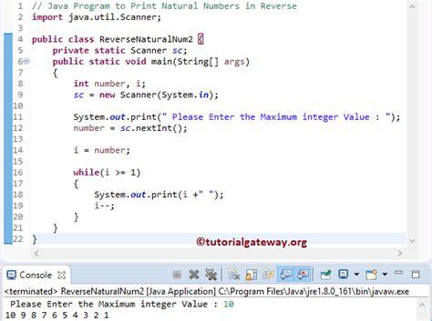 java program for reverse pattern java program to print natural numbers in reverse