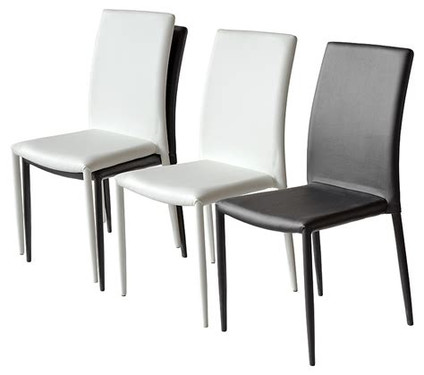 pair of contemporary faux leather stackable dining chairs