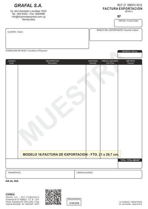 modelos de facturas 2015 modelo 16 factura exportaci 243 n imprenta express