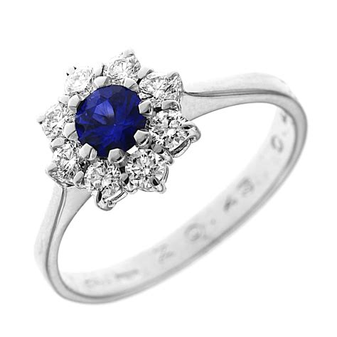 anello a fiore con diamanti anello fiore con zaffiro e diamanti linea italiana