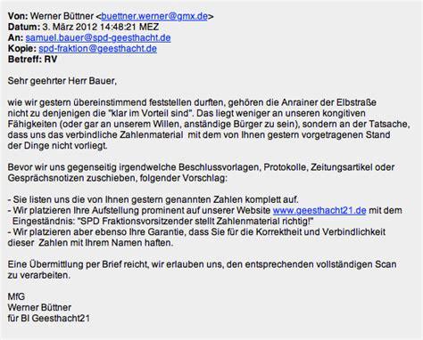 Anfrage Brief B2 Beispiel Elbstra 223 E Geesthacht