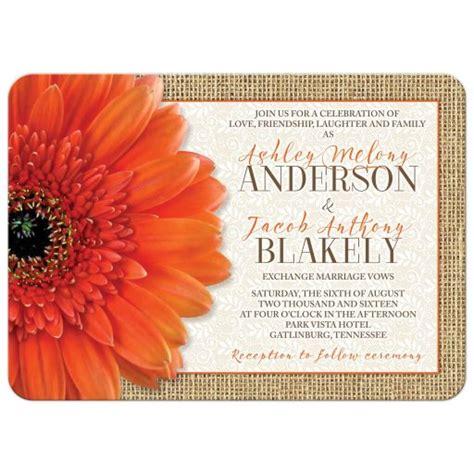 orange gerbera wedding invitations rustic orange burlap lace wedding invitation