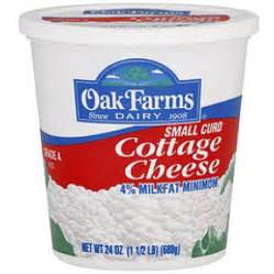 1 cottage cheese island farms oak farms 4 milkfat small curd cottage cheese 24 oz