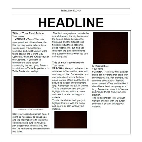Feature Article Outline by Newspaper Feature Article Template Best Business Template
