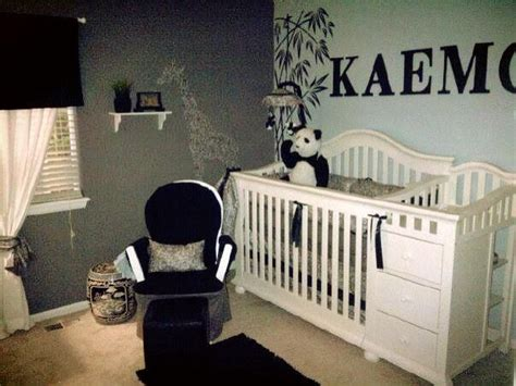 panda crib bedding black gray white paisley boy nursery panda bear theme for