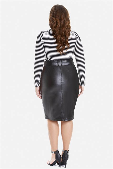 plus size mercury faux leather pencil skirt fashion to