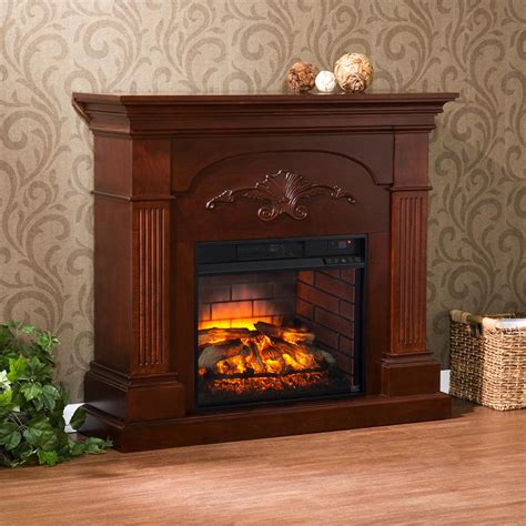 home depot fireplace dover 44 75 in w infrared electric fireplace in mahogany hd91234 the home depot