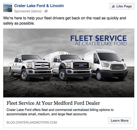 car service ad facebook ads for commercial auto sales and service