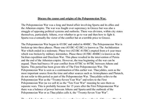 Peloponnesian War Essay by Discuss The Causes And Origins Of The Peloponnesian War A Level Classics Marked By Teachers