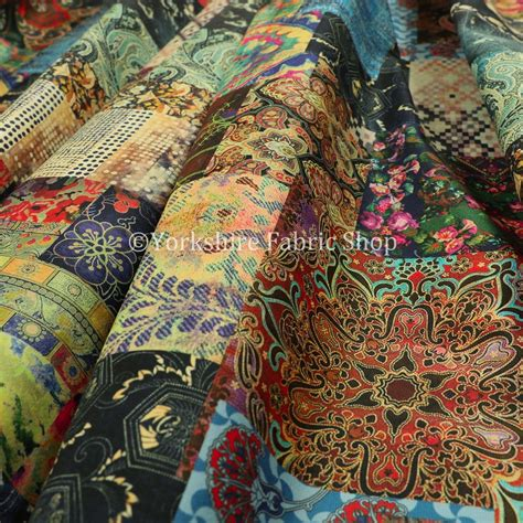 Patchwork Upholstery Fabric Uk by Modern Printed Velvet Patchwork Multi Coloured