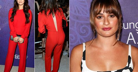 Jumpsuit Dress Pakaian Wanita Lea Jumpsuit 2 selena gomez stuns in 70s jumpsuit while lea michele opts for two tone dress at pre emmy