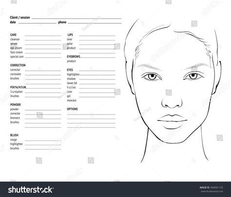makeup chart template chart makeup artist blank template stock vector