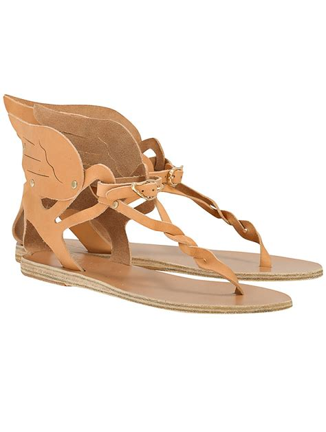 ancient sandal ancient sandals xenia winged sandal in beige lyst