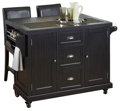 Black Kitchen Island Cart Distressed Black Kitchen Cart And Two Stools