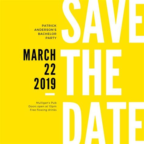 meeting save the date templates yellow black modern bold bachelor save the date invitation