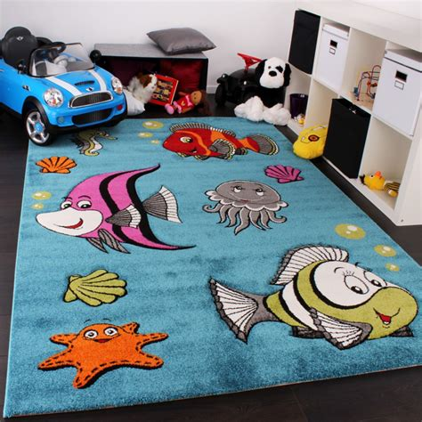 kinder teppiche kinderteppich clown fisch unterwasserwelt design t 252 rkis