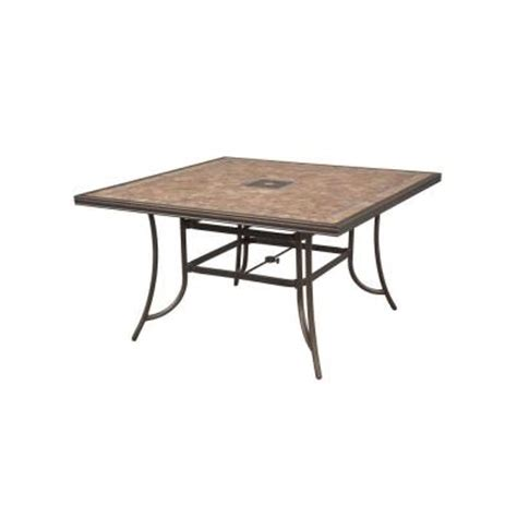 Tile Top Patio Table Hton Bay Westbury 60 In Square Tile Top Patio High Dining Table Anq05417k01 The Home Depot