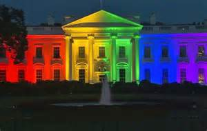 white house lighting white house in rainbow lights after scotus marriage