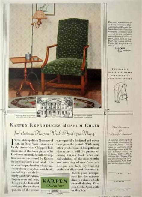 American Furniture Ad by 1929 Karpen Furniture Ad Chippendale Chair Vintage