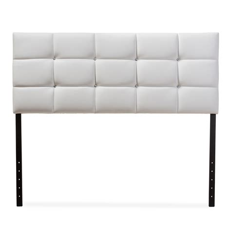 full size leather headboard baxton studio bordeaux modern and contemporary white faux