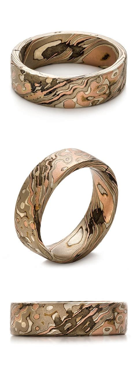 Custom Mokume Gane Men's Wedding Ring Band Nature Wood
