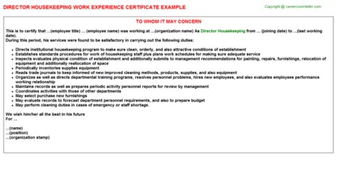 certify letter for director housekeeping work experience certificates