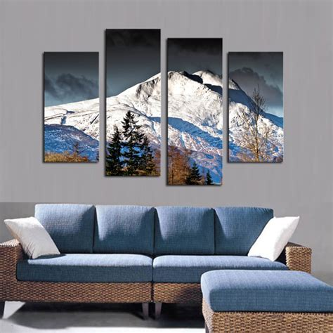 canvas print without frame 4 pcs canvas wall paintings snow mountain wedding