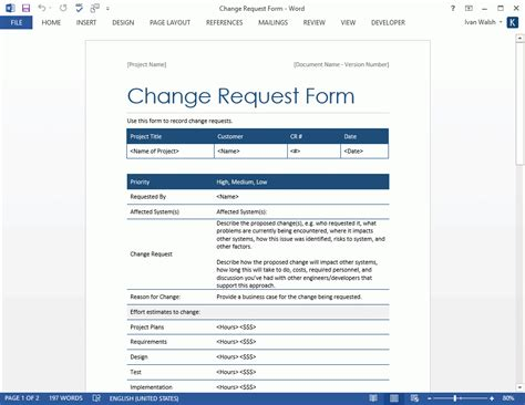 software template word change request template doliquid