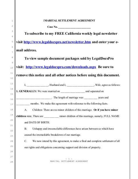 marriage separation agreement template sle california marital settlement agreement